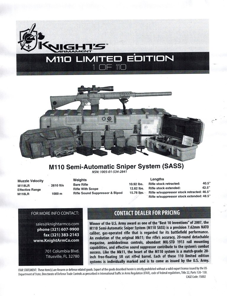 Knights Armament SR25 LE SASS M110 308 Rifle
