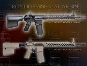 TROY CARBINE 556NATO 16INCH BLACK RIFLE W/TROY RAIL.