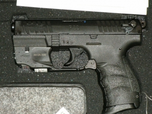 WALTHER P22 PISTOL W/LASER, THREADED BARREL. THESE ARE SUPPRESSOR READY!